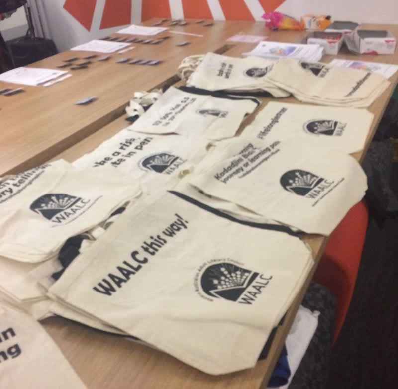 WAALC Conference bags on display
